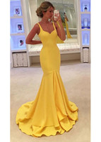 Wholesale Hot Sexy Fit - Hot Sexy 2017 Yellow Satin Mermaid Evening Dresses Scoop Neck Zipper Back Long Slim Fitted Formal Gowns Dresses Evening Wear Cheap