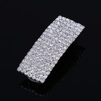 Wholesale Crystals For Sale Wholesale China - Hot Sale Barrette Hair Clips 7 Row Women Chic Full Crystal Rhinestone Square Barrette Fine Bling Hair Clips Hairpin Accessories for Women