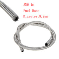 Wholesale Oil Cooler An6 - RS.MTX Universal 1 metre 6 AN Stainless Steel Braided Fuel   Oil Line Hose AN6 Oil adapter Silver Sold Per AN6 Oil Cooler HOSE
