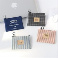 Wholesale 4 set Simple striped version mini coin purse canvas college students short wallet boys women neutral canvas coins purses bag