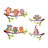 Wholesale Tree Branch Wall Decals Removable - XH6226 Owls On Branch Tree Wall Stickers For Kids Rooms Adesivo De Parede Pvc Wall Decal Poster Mural Nursery Cartoon Room Decor