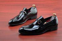 Wholesale Drop Ship High Heels - 2016 Brand new FM fashion men cowhide patent leather high quality black color mocassins gentlemen loafer size 39-45 drop shipping