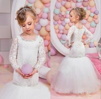 Wholesale Toddler Mermaid - Cute Infant First Communication Dresses Mermaid Lace Long Sleeves Baby Toddler Tulle Gown Sparkly Beading Floor Length Flower Girl Dress