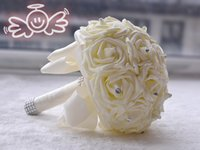 ingrosso crema artificiale-Mazzi nuziali caldi rosa per le nozze con le perle artificiali Strass Ribbon Fancy Handmade Cream Wedding Artificiale Mazzi # BW-B008