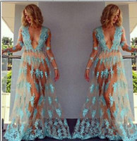 Wholesale Long Sleeve Dance Dress Women - Sexy deep-V blue tulle perspectivity lace embroidered full dress voile transparent lace flower pole dancing dress nude sheer beach dress