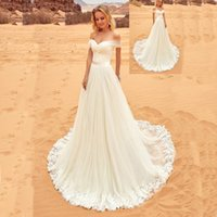 Wholesale Tull Wedding Dress Cheap - 2017 Beach Wedding Dress A Line Off the Shoulder Ruched Tull Country Bridal Gowns with Sash Sweep Train Custom Made Cheap
