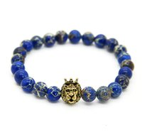 Wholesale mens bracelets lion - 1PCS New Design 8mm Blue Sea Sediment Stone Beads With Mix Color Lion Head Hero Bracelets, Mens Jewelry,Nice Gift