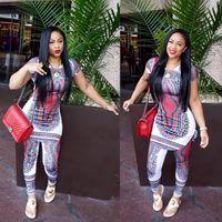 Wholesale totem pants - African geometric totem printing fashion casual vest + pants ladies suit