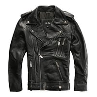 Wholesale Real Leather Motorcycle Jackets - 2017 Men Black Genuine Leather Motorcycle Jacket Double Diagonal Zipper Real Thick Cowhide Men Slim Fit Biker Coat FREE SHIPPING