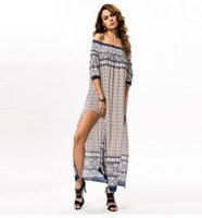 Wholesale Cheap Tunics Summer - Sexy Off Shoulder Maxi Long Summer Dress Double Side Split Beach Tunic Bohemian Ethnic African Dresses For Women Cheap Clothes China