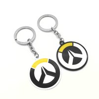 Original New Fashion Drangon Keychain Noir et Blanc Alloy Enamel Keyring Men Key Chain Game Ring Anime Jewelry Gift