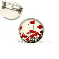Wholesale Field Poppies - Wholesale- Wholesale charming Red Poppy brooches Field Of Poppies Flowers picture brooch pins Floral Art jewelry Mother's Day gift NS135