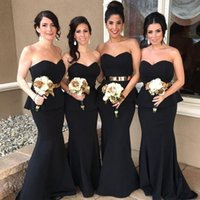 Wholesale cheap white satin sash belt - Black Sweetheart Elegant Mermaid Arabic Long Bridesmaid Dresses 2017 Gold Belt Satin Bridesmaid Dress Cheap Prom Party Gowns