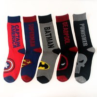 Wholesale Union Socks - 3D Cartoon Sock Avenger Union Captain America Superman Batmen Deadpool Punisher Street Tide Skateboard Sock Cotton Jacquard Men's Socks