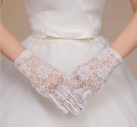 Wholesale Herve Lerger Dress - Hot Sale Lace Full Finger Wrist Bridal Gloves 2017 In Stock Wedding Gloves For Wedding Dresses