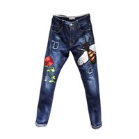 blue bee jeans - Metrosexual new bees rose embroidery cloth blue wash patch Slim small straight leg jeans men