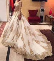 Wholesale crystal embellished wedding gowns - Wedding Dress V-neck Long Sleeve Arabic Bridal Gown Gold Appliques embellished with Bling Sequins 2017 Sweep Train Amazing Formal Gowns