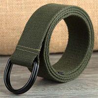 Wholesale Leather D Ring Belts Wholesale - Wholesale- Fashion New Ring Canvas Outdoor Belt Man Casual Canvas Waist Belt Jeans Woman Double Ring D Type Buckle Unisex