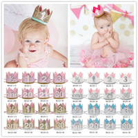 Wholesale leather headwear - Baby Girls Birthday Headband Princess Crown Headband Girls Elastic Numbers print Headwear Newborn Baby Glitter Hair Accessories KHA472