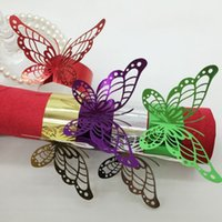 Wholesale Napkin Rings Wedding Bridal - Butterfly Hollow Napkin Rings Direct Deal Holder Free Shipping Bridal Shower Favor Wedding Party Decor Buffet Equipment 0 35rs H R