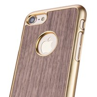 Wholesale Bumper Iphone Genuine - Electroplating PC Bumper Wooden Real Natural Wood Back PC Mobile Phone Case For iPhone 6s 7 6 Plus Textured Genuine Wood Made Phone Cover