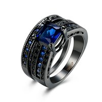 Wholesale Fashion Cocktail Ring Free Shipping - The Rings Style Fashion 18KRGP Black Gold Plated Women Rings set For Cocktail Party Best Gift For Wedding Free Shipping