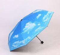Wholesale Uv Sun Protection Umbrella - Fantastic Anti-uv Sun Protection Umbrella Blue Sky White Cloud 3 Folding Gift Sunny Rainy Umbrellas