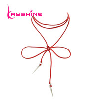 Wholesale Long Necklace Spikes - Gothic Style Black Red Chain Choker Necklace Female Long Rope Chain Necklace with Silver Color Spike Pendant Statement Necklace