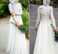 islamische kleider hijab großhandel-Bescheidene muslimische Abendkleider mit Rundhalsausschnitt Chiffon 2019 mit langen Ärmeln Abaya Islamic Dubai Hijab Formelle Abendkleider Elegante weiße Ballkleider