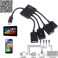 OTG USB Hub Connector Splitter 4 ports Micro USB Chargeur OTG Hub Câble pour Smartphone Ordinateur Tablet PC Data Cable USB OTG