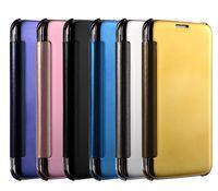 étui portefeuille transparent iphone 5s achat en gros de-Miroir Clear SMART Voir Flip Case Electroplate plaqué Portefeuille en cuir Couverture pour iPhone5 / 5s iPhone6 Galaxy S6 Bord S6 Bord Plus