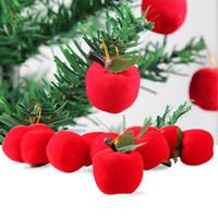 adorno de manzana roja al por mayor-2017 Árbol de Chiristmas Apple decoración 12 unids / lote Artifical pequeño mini Manzanas Rojas decoración regalo para el Ornamento del Árbol de Navidad venta caliente