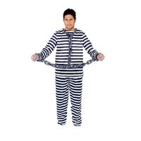 Wholesale Gangster Cosplay Costumes - 2017 1 set Cosplay Prisoners Costume Male White Stripes prison uniform Adult Halloween Christmas Party Supplies Free Shipping
