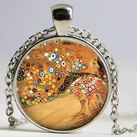 Wholesale Gustav Klimt Pictures - Gustav Klimt's Water Serpents Necklace Klimt Art Picture Pendant Vintage Great Painting Glass Cabochon Jewelry Women Kids Gift
