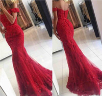 Wholesale Cheap Sweetheart Short Prom Dresses - 2017 New Red Lace Mermaid Prom Dresses veatidos off Shoulder Beaded Appliques Tulle Floor Length Cheap Long Evening Gowns