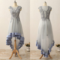 Wholesale Cheap Simple Pageant Dresses - 2017 Real Picture Sheer Neck Hi-Lo Short Prom Dresses A-Line Cheap Simple Applique Capped Piping Ribbon Tulle Party Pageant Cocktail Gowns