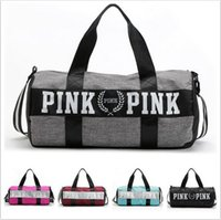 Wholesale Large Denim Tote Bag - Women Handbags Pink Letter Large Capacity Travel Duffle Striped Waterproof Beach Bag Shoulder Bag 30pcs OOA781