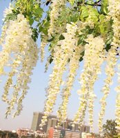 Wholesale Vine Floral For Living Room - Realistic Romantic Classic Artificial Fake Wisteria Vine Ratta Silk Flowers for Garden Floral Decoration DIY Living Room Hanging Flower