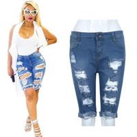Wholesale zipper knee leggings - Wholesale- Sexy Women Girl Elastic Hole Leggings Short Pants Denim Shorts Ripped Jeans