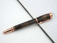 Wholesale Golden Trims - Black rose golden Strip Trim Crystal Cap Metal RollerBall Pen