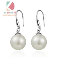 Wholesale Sterling Silver Korean Style Earrings - lingdong fashion brand 925 Sterling Silver Pearl Earrings Korean style Women Earrings gift Anti allergy Earrings free shipping
