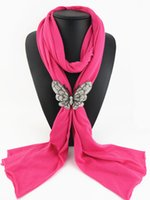 Wholesale Scarf Necklace Butterflies - Plain Solid color butterfly magnet buckle Scarves jewelry NECKLACE PENDANT SCARF for women 8 colors