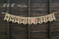 Wholesale Pregnancy Girls - Wholesale- Burlap Baby Bunting, Baby Shower Decoration, Sweet Girl Bunting, Baby Girl Bunting, Pregnancy Photo Prop, Shower Decor