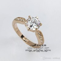 Wholesale Real White Gold Couples Ring - Real Italina Rings For Men Women Genuine Austria Crystal 18K Gold Plated Wedding Ring Fashion Couples Engagement Ring