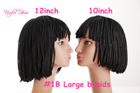 Wholesale Cheap Braided Wigs - Free shipping 180grams synthetic lace wigs short 12inch cheap braided wigs black color withe baby hair for black women 3x box braids wigs