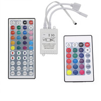 Wholesale Smd Led Dimmer - RGB 6A 44 Key IR Remote Controller RGB LED Dimmer 12V 2 port For SMD 5050 3528 LED Strip Light Mini RGB Controller