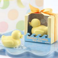 ingrosso scatole decorative gialle-Bomboniere profumate Giallo Anatra Sapone Decorativo Handmade Baby Showers Saponi Regali per feste Imballaggio scatola trasparente