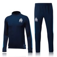 Wholesale Classic Suit Wear - 2017-18 Olympique de Marseille Soccer Tracksuit 16-17 Top AAA Quality Long Sleeve Training Suit Football Training Clothes Sports Wear Mens