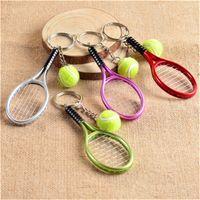 Wholesale Wholesale Tennis Ball Key Chains - Fashion Wholesale 6 colors Tennis Keychain Key Ring Tennis Racket Model Key Chain For Best Friendship Souvenir Gift b1348