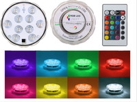 Wholesale Fountain Candles - LED Submersible Light RGB Underwater Waterproof 10 LED Luminaria Candle Light Tea Lamp For Pool Centerpieces Water Fountains